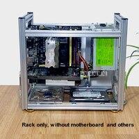 DIY алюминиевый чехол для компьютера Настольный ПК компьютер шасси стойки для atx материнская плата с USB аудио интерфейс модуль коммутатора