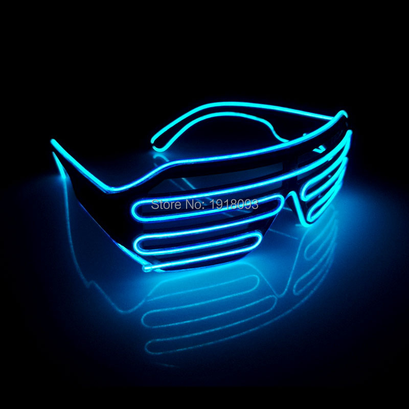 Fashion Color Blue With DC-3V EL Wire Neon LED Light Up Shutter Glasses Neon glow light For Event Party Decoration