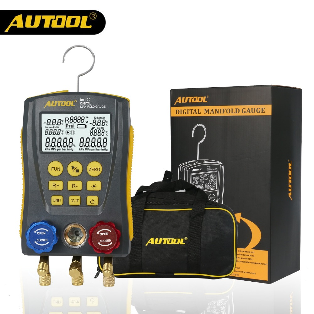 AUTOOL lm120 Refrigeration Digital Manifold Gauge Meter HVAC Vacuum Pressure Temperature Tester Kit with Test Clip