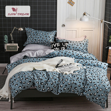 SlowDream Leopard Blue Duvet Cover Set Bedding Linen Decorative Comforter Cover Flat Sheet bed Cover Double Queen Bedding Set
