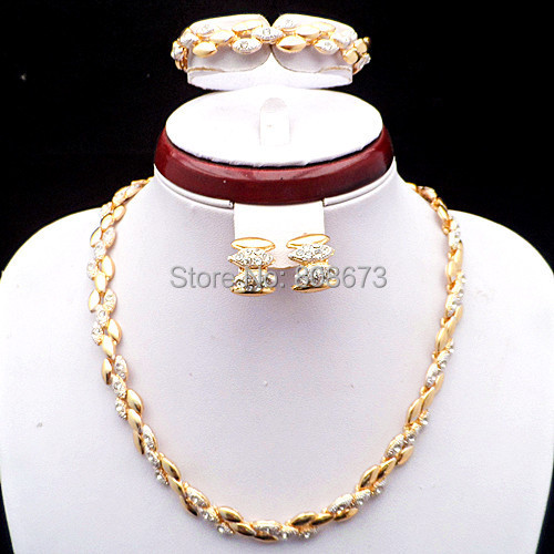 Good Quality!24K Yellow Gold And White Gold Crystal Women Costume Jewelry Set Elegant Party Dress Jewelry Set