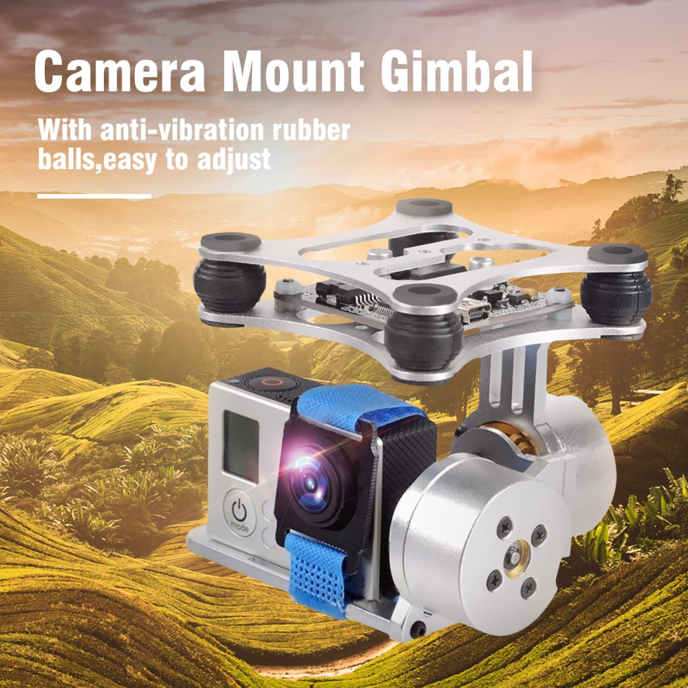 New Aerial Photography Use 2-Axis Aluminum Brushless Camera Mount Kit Gimbal Motor for Gopro2 3 for DJI Phantom DIY Aerial Drone 2015 hot sale quadcopter 3 axis gimbal brushless ptz dys w 4108 motor evvgc controller for nex ildc camera