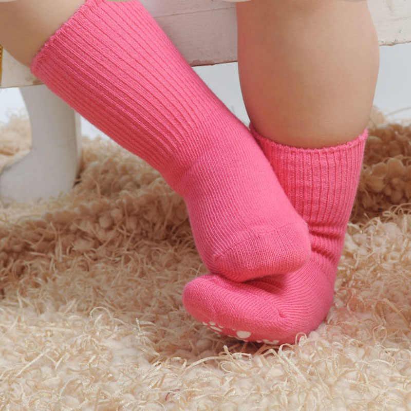 1-3 ปีผ้าฝ้ายสี Candy ถุงเท้าเด็ก Anti Slip ยาง Sole ถุงเท้าฤดูใบไม้ร่วงสาวฤดูหนาวเด็กอบอุ่นถุงเท้าชั้น
