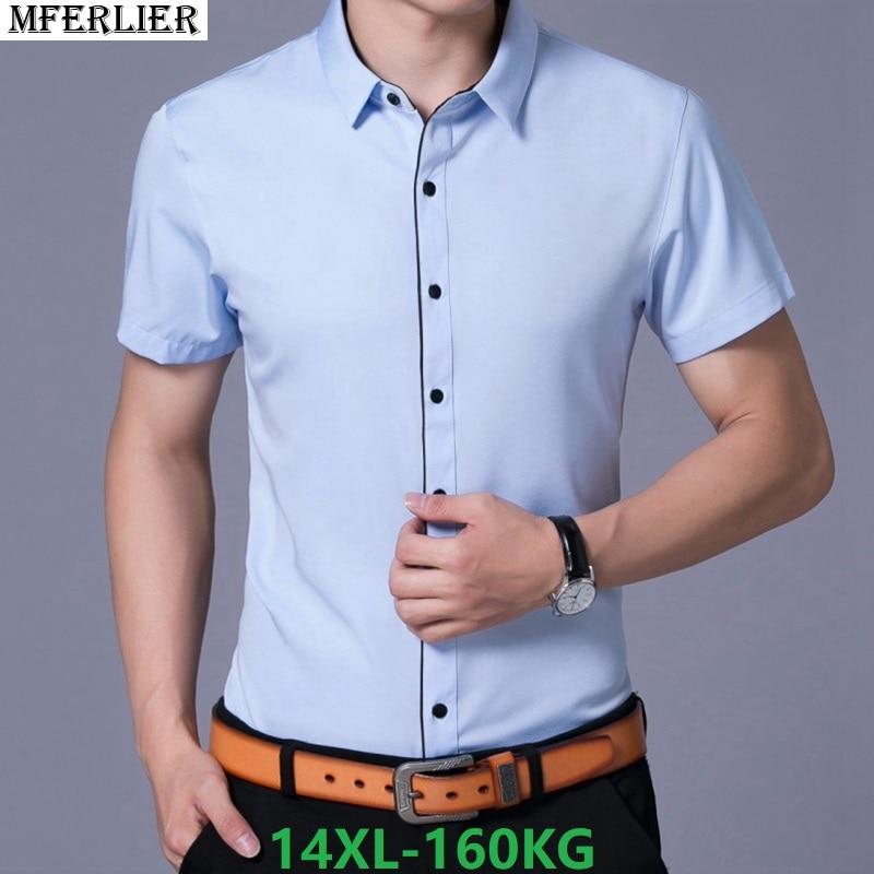 Summer Men Large Size Shirt Formal Short Sleeve Big Sale Wedding Shirt Business Office Plus Size Big 8XL 9XL 10XL 12XL Shirts