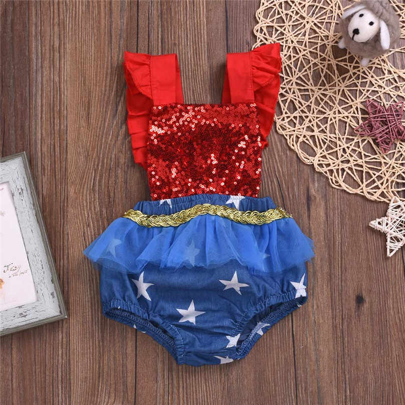 Newest Kids Girls Rompers Infant Baby Girls 4th of July Stars Sequin Patriotic Backless Romper Summer Kid Roupas Infantis L13