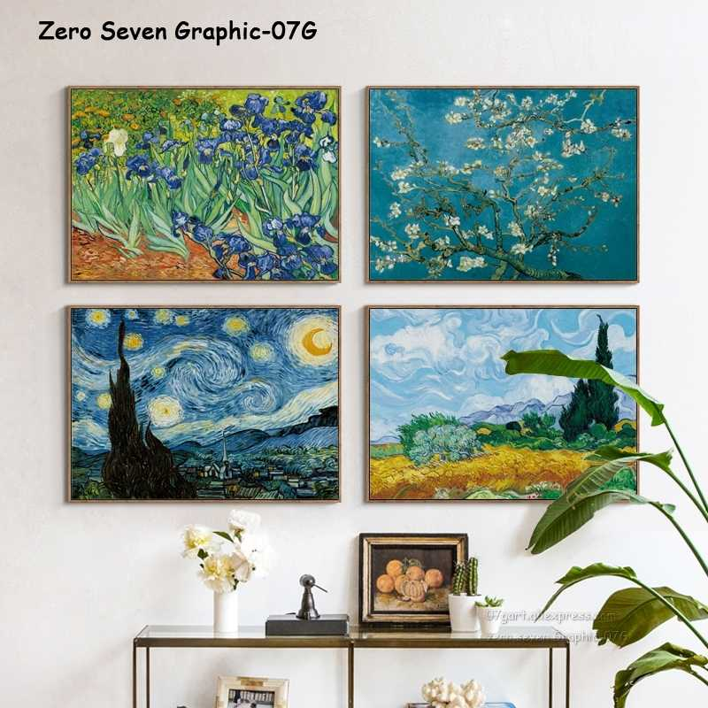 07G Van Gogh Oil Painting Works Sunflower Apricot Abstract A4 A3 A2 Canvas Art Print Poster Picture Wall House Decoration Murals