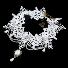 2018 Hot Sexy Gothic Chokers pearl white Lace necklace Choker Necklace Vintage  Women bride wholesale Jewelry lace choker necklace set