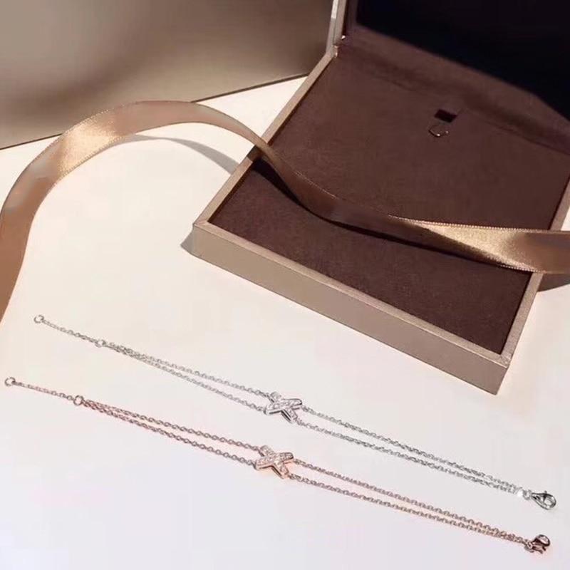 Горячая бренд Pure 925 пробы Серебряные ювелирные изделия для Для женщин маленький х браслет 5A кубического циркония крест двойной браслет-цепо...
