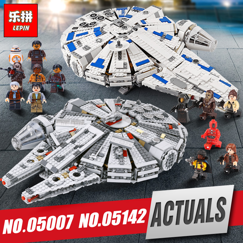 LEPIN 05007 05142 Millennium set Falcon model Force Awakening Star Building Blocks 75212 wars Toys Children LegoINGys 10467 [yamala] star wars 7 1381pcs millennium falcon force awakening building blocks toys for children toys compatible with lepin