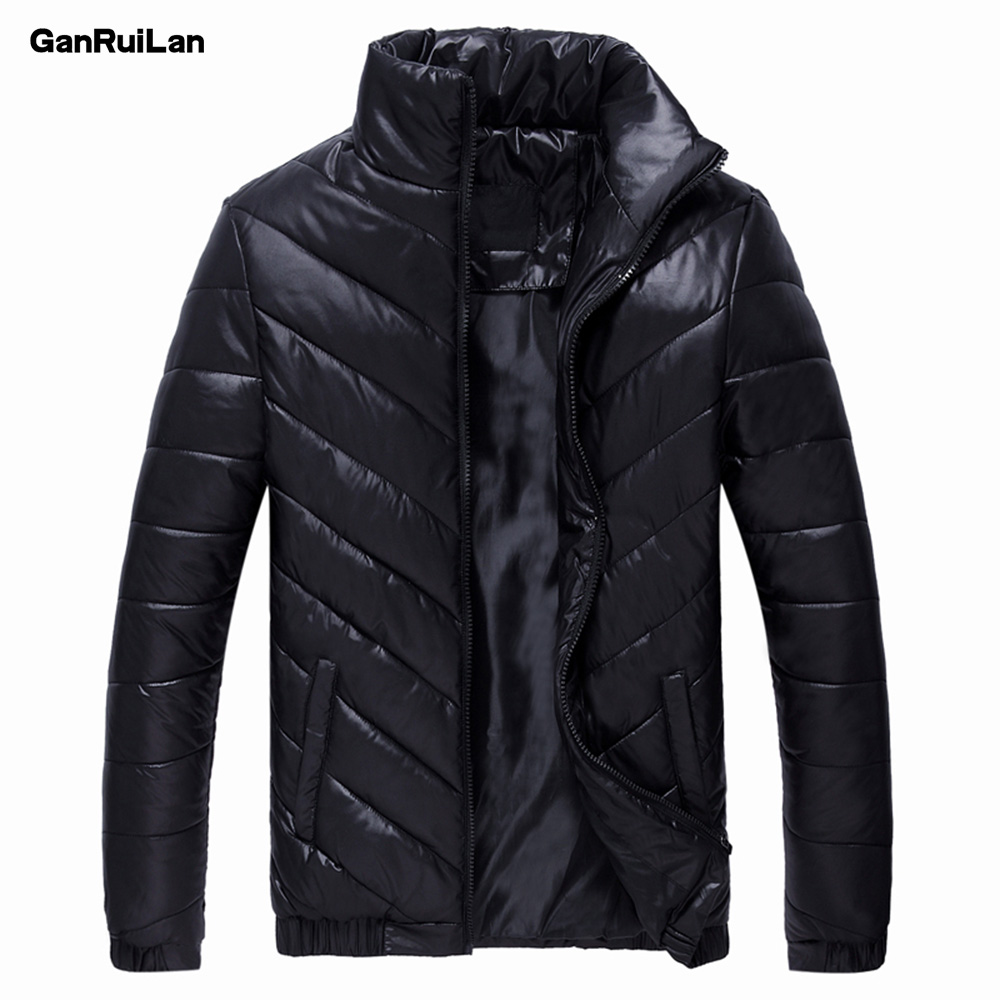 2018 New Winter Mens Coat Thin Outerwear 100% Cotton Clothing Stand Collar Casual Slim Parkas Solid Jacket B0281