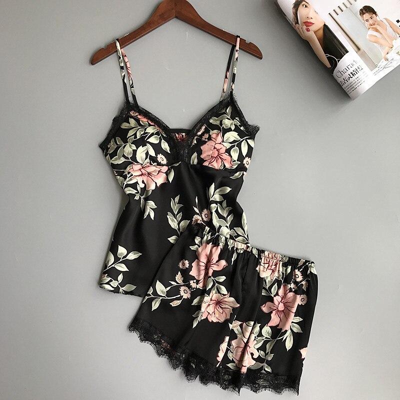 Pyjama-garnituren 2019 Schlaf Lounge Pyjama Set Sexy Satin Nachtwäsche Frauen Sommer Pyjama Femme Mode Blume Pyjamas Für Frauen Mit Brust Pad