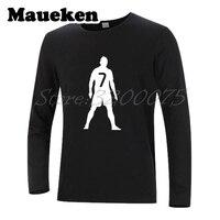 Autumn Winter CR7 7 Cristiano Ronaldo A Free Kick Celebrate Logo Men T Shirt Long Sleeve