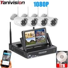 """Kit de caméra IP Wifi extérieur 2MP, système de sécurité sans fil, avec moniteur, Plug Play, 7 """", Vision nocturne 20m, avec moniteur"""