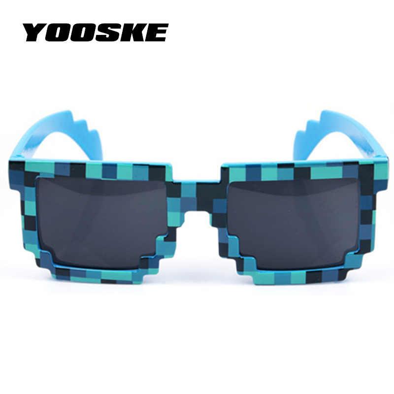 859eb07cea ... YOOSKE Vintage Minecraft gafas de 8 bits Pixel mujeres hombres gafas de  sol mujer hombre mosaico