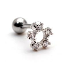 Classic rosette earrings , piercing earrings small mini zircon pegs