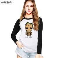 Cute Groot Tee Shirt Women Printing Long Sleeve Crewneck Raglan Cotton Couple T Shirt Of The