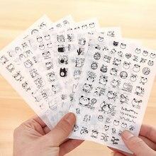 6 sheets/lot Lovely Panda and Funny Cat Stickers Scrapbooking DIY Diary Decoration Kawaii Black & White PVC Transparent Sticker недорого