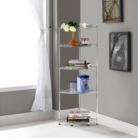 Lifewit 5 Tiers Adjustable DIY Corner Shelving Unit Triangle Metal Storage Shelves Corner Rack Display Shelf
