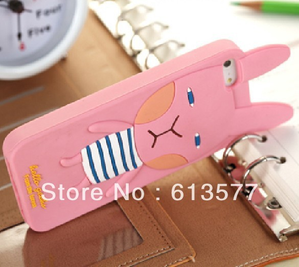 Pink Color Rabbit for iphone5 Deloo rubber mobile phone case Hot selling rubber cellphone case