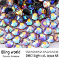 SS6 SS10 SS16 SS20 Heat Transfer Flatback Light Col Topaz AB DMC Hot Fix Rhinestones for Phonecase Decoration Nail Art diy