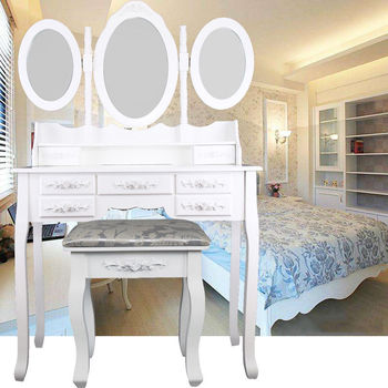 Ship from EU! Makeup Dressing Table With Stool 7 Drawers Adjustable mirrors bedroom Baroque style