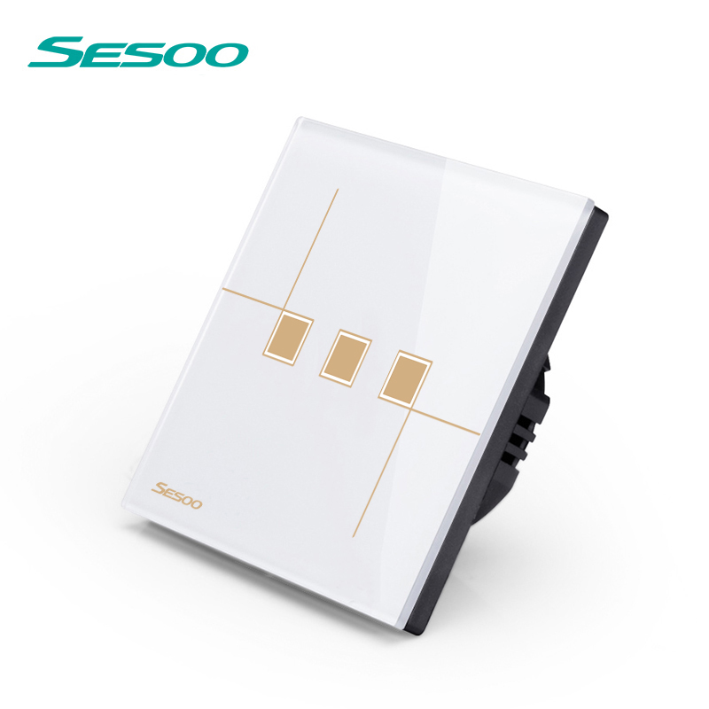 SESOO Remote Control Switch 3 Gang 1 Way, SY6-03 White, Wall Touch Switch,Crystal Glass Switch Panel smart home eu touch switch wireless remote control wall touch switch 3 gang 1 way white crystal glass panel waterproof power