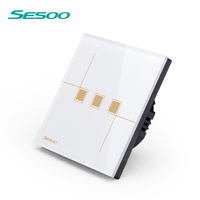 SESOO Remote Control Switch 3 Gang 1 Way SY6 03 White Wall Touch Switch Crystal Glass