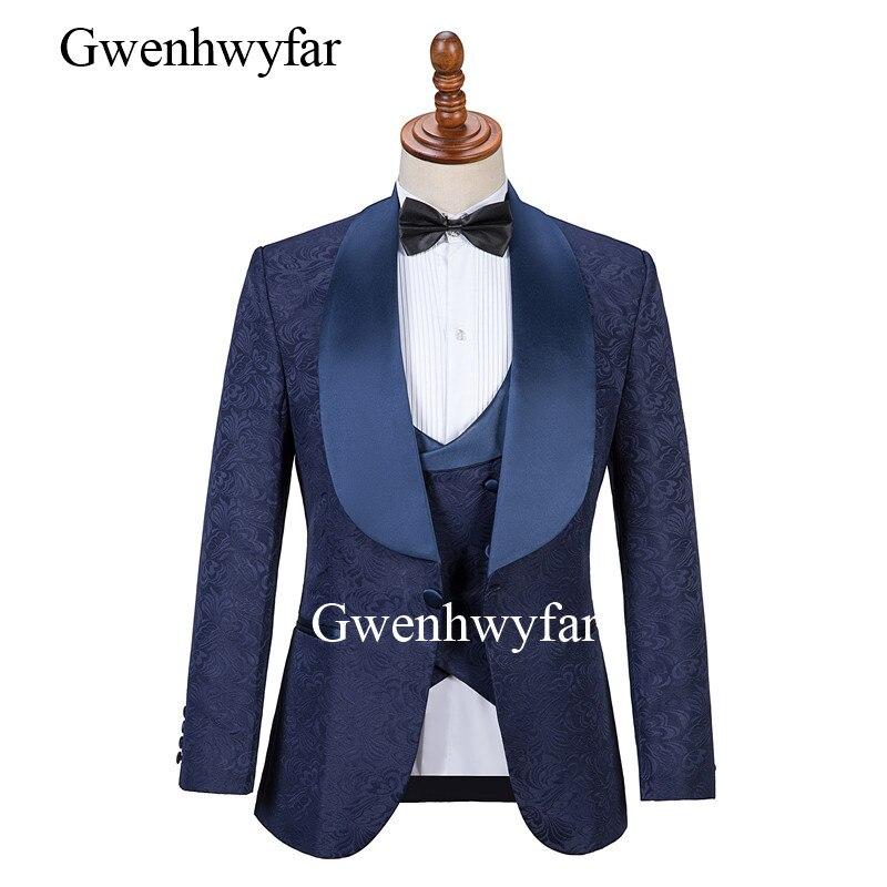 GwenhwyfarMens costumes avec imprimé marque bleu marine hommes Floral Blazer conceptions hommes Paisley Blazer Slim Fit costume veste hommes mariage-in Costumes from Vêtements homme    2
