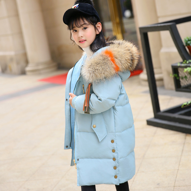 2018 Girls Winter Warm Thick Cotton-Padded Fur Collar Down Long Jacket Kid Winter Child School Keep Warm Snow Hooded Clothes 2017 winter coat women parka long thick warm cotton jacket large fur collar hooded warm parkas cotton padded outerwear hn137