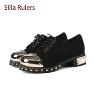 Silla Rulers High Quality Lady 4 5cm Med Heel Shoes Black Flock Lace Up Metal Toe