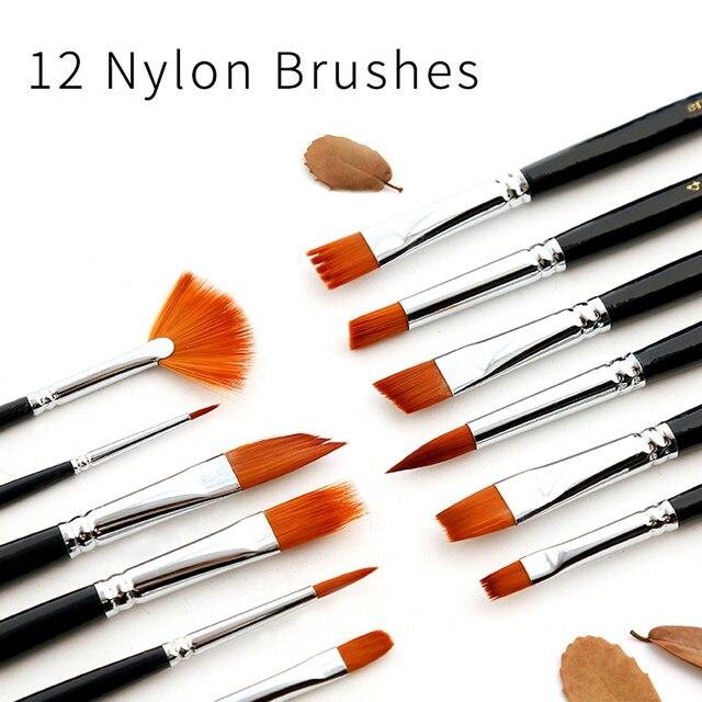 12 piezas pintura cepillos de pelo de Nylon pintura cepillo variedad estilo barra aceite acrílico acuarela pintura cepillo pluma pincel de arte suministros