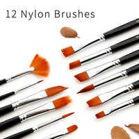 12Pcs Paint Brushes Set Nylon Hair Painting Brush Variety Style Short Rod Oil Acrylic Watercolor Painting Brush Pen Art Supplies