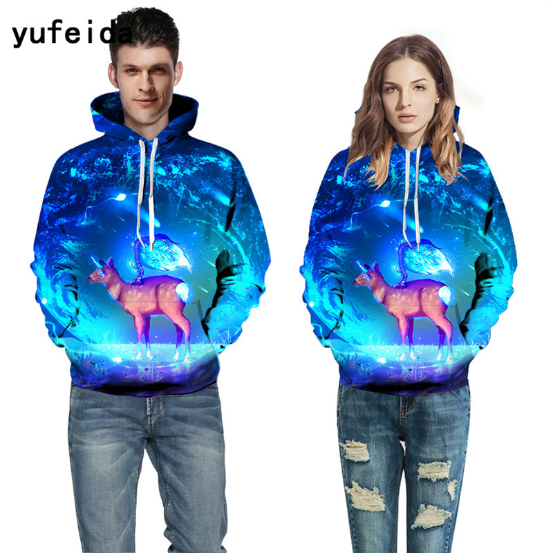 YUFEIDA Cool 3D Print Hoodies Pullover Autumn Winter Sweatshirts Tracksuits Harajuku Outwear Casual Hoody with Hat for Men Women
