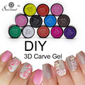 Saviland 1pcs 12 Coloful 3D Sculpture Carved Glue Glitter Painting UV Gel Acrylic Nail Art Modelling Manicure Decor