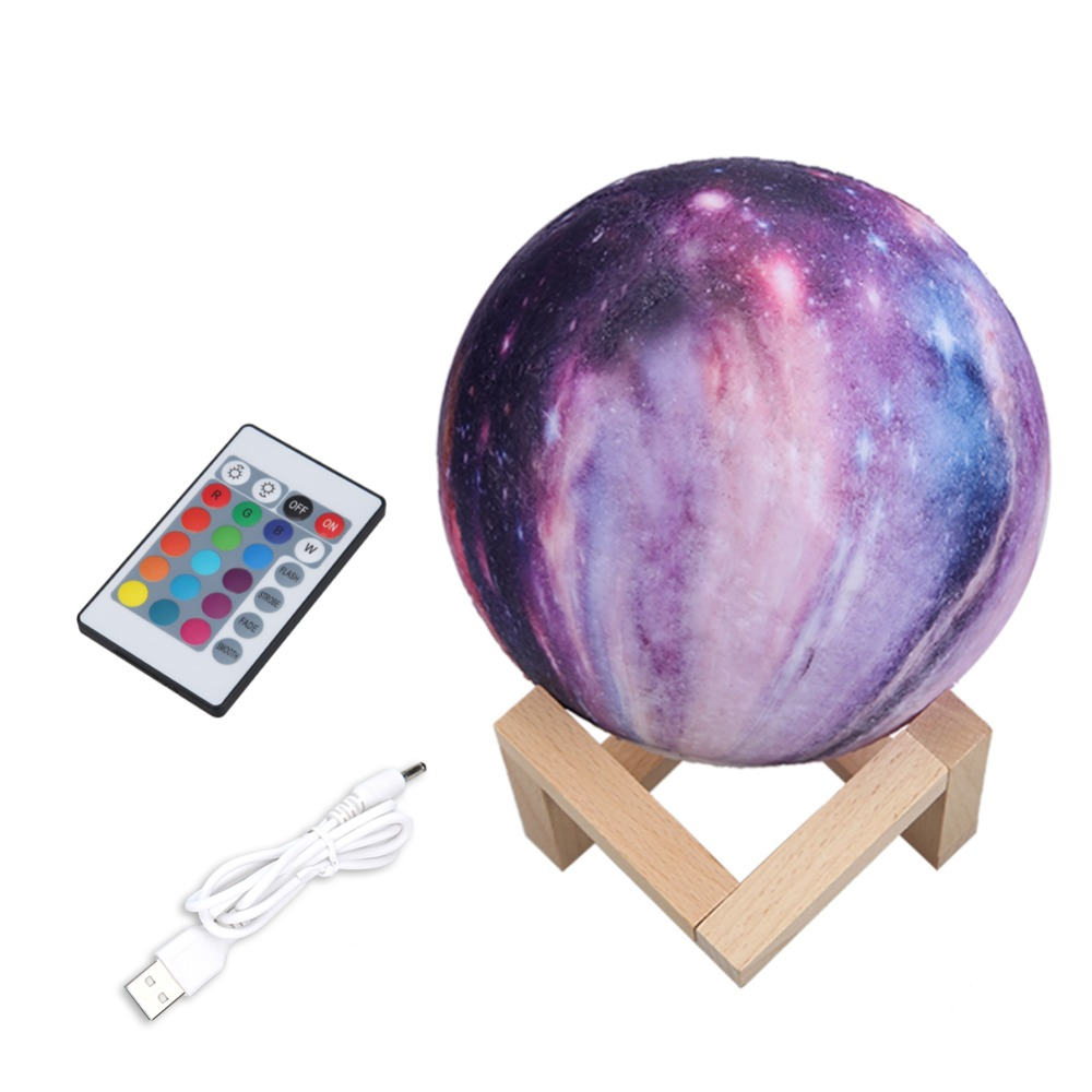 16 Colors 3D Moon Light Children's Night Light USB Rechargeable Touch Switch Christmas Decoration Bedside Lamp LED Moon Lamp