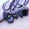 Venta! piedra Natural colgante de jade Negro Obsidiana Irregular colgantes Charms collares gargantilla de Joyería de Moda collar de Cadena Para Los Hombres