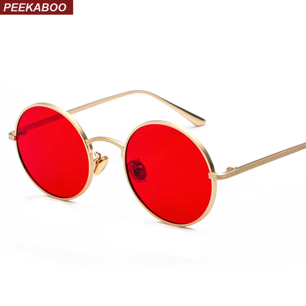 1d2e1694664 Peekaboo gold round metal frame sunglasses men retro 2018 summer style  women red lens sun glasses
