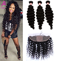 7A Brazilian Virgin Hair Silk Base Frontal With Bundles Deep Wave 13x4 Deep Curly Human Hair Bundles With Closure 4 Pcs/Lot