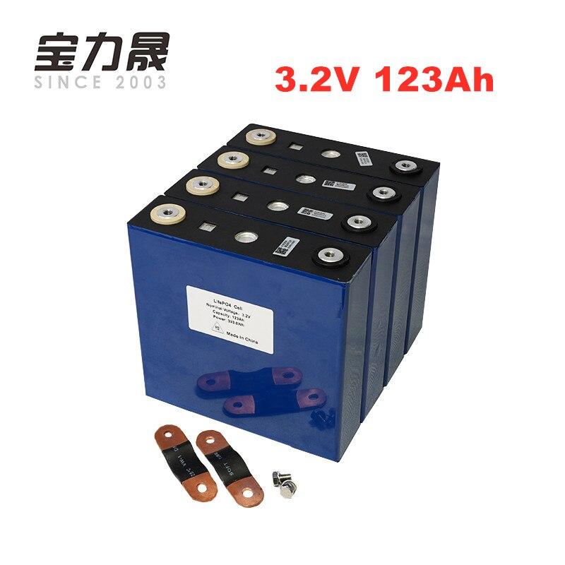 4 PCS bateria de 3.2 V lifepo4 123Ah Longos Ciclos de Vida 4000 Vezes 3C 12 solar Recarregável 12.8 V células 120Ah não 100Ah UE EUA LIVRE de IMPOSTOS