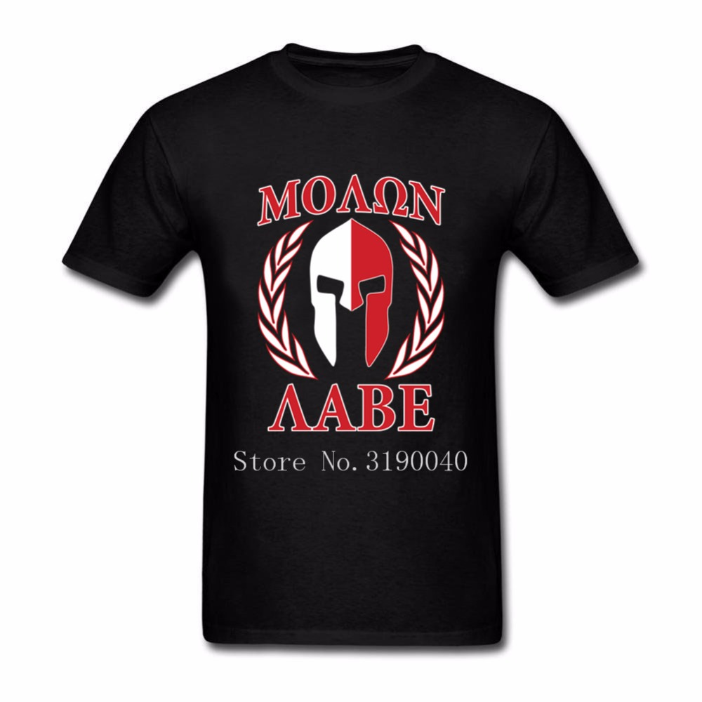 Molon Labe Laurels Mask In Red Spartan Mens T Shirt Plain Tshirts For Men 100% Cotton Short Sleeve Over Size Clothing For Family