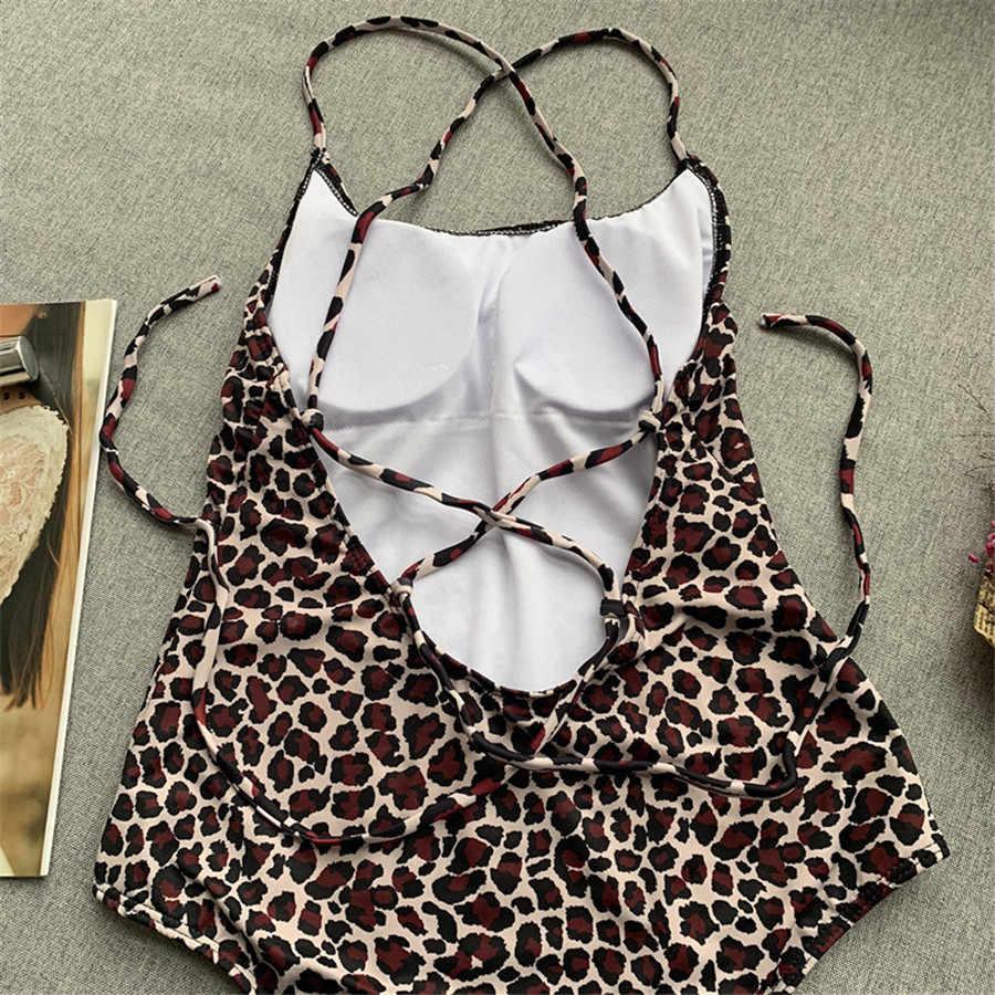Nuevo traje de baño Sexy de cintura alta sin espalda mono Monokini traje de baño de mujer estampado de leopardo traje de baño natación playa desgaste Bikini