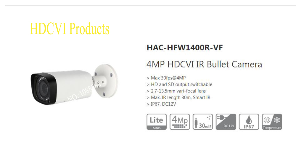 Free Shipping DAHUA Security Camera CCTV 4MP HDCVI IR Bullet Camera IP67 without Logo HAC-HFW1400R-VF free shipping dahua cctv camera 4k 8mp wdr ir mini bullet network camera ip67 with poe without logo ipc hfw4831e se