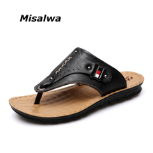 Misalwa 2017 Genuine Leather Hot Sale Summer Men Flip Flops Slippers British Fashon Quality Men Leisure