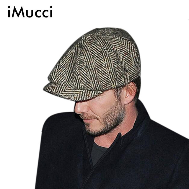 77a88af1d8c iMucci Grey Black Herringbone Tweed Gatsby Newsboy Cap Men Khaki Wool Ivy  Hat Golf Driving Flat