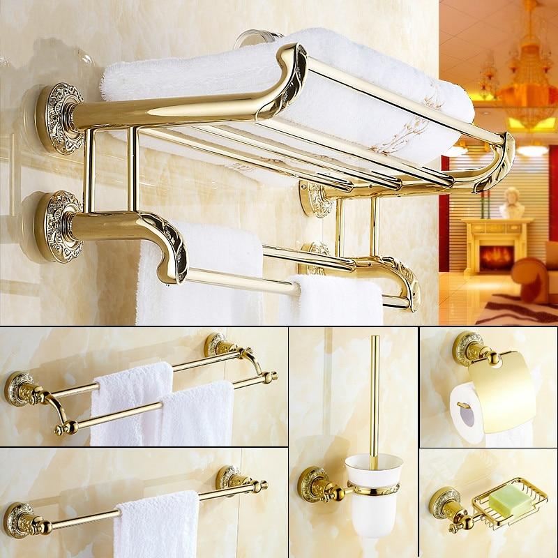 European Copper Golden Bathroom <font><b>Accessories</b></font> Set Carved Polished Bathroom Hardware Set Wall Mount Gold Plate Bathroom Products S2