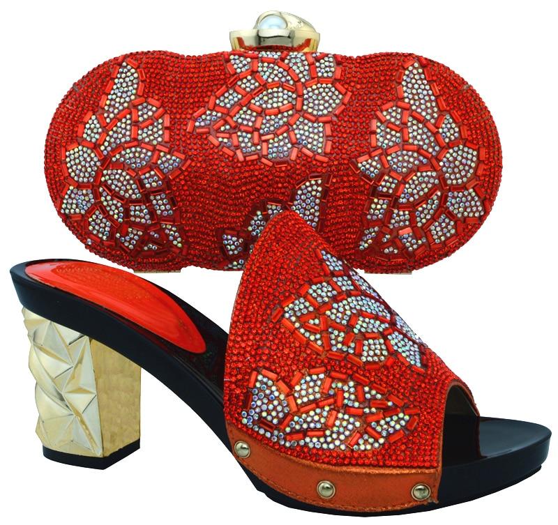 Frauen Tasche Strass Mit gelb Für Verziert rot purpurrot Italienische Blau Italien Rot Farbe Hochzeit orange Und Set Nigerian Schuhe IcwxfqFvq8