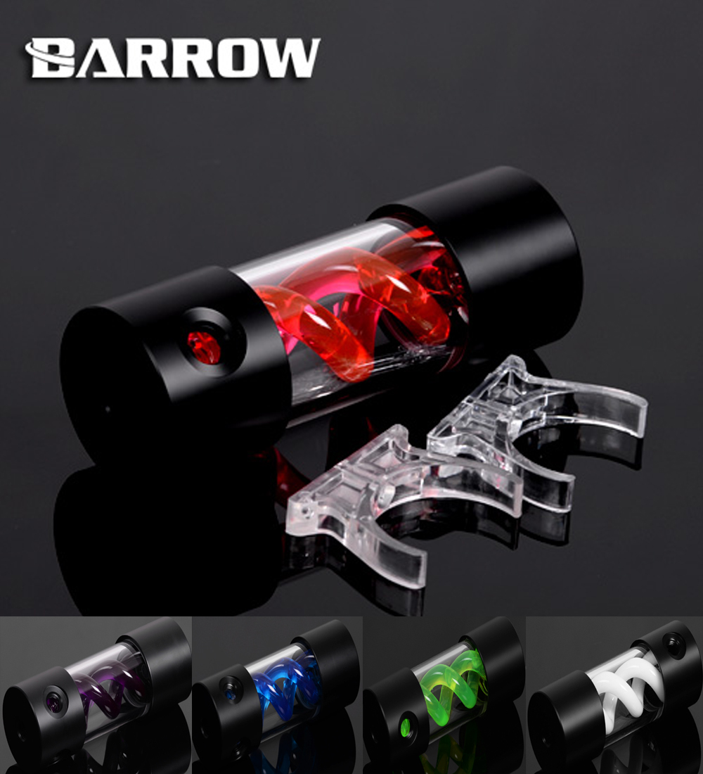 BARROW 155mm X 50mm Double Helix T-Virus Cylindrical Water-Cooled Coolant Tank Light System POM+PMMA Black Cover 5 color TLYK155 barrow 155mm x 50mm double helix t virus cylindrical water cooled coolant tank light system pom pmma white cover 5 color tlyk155