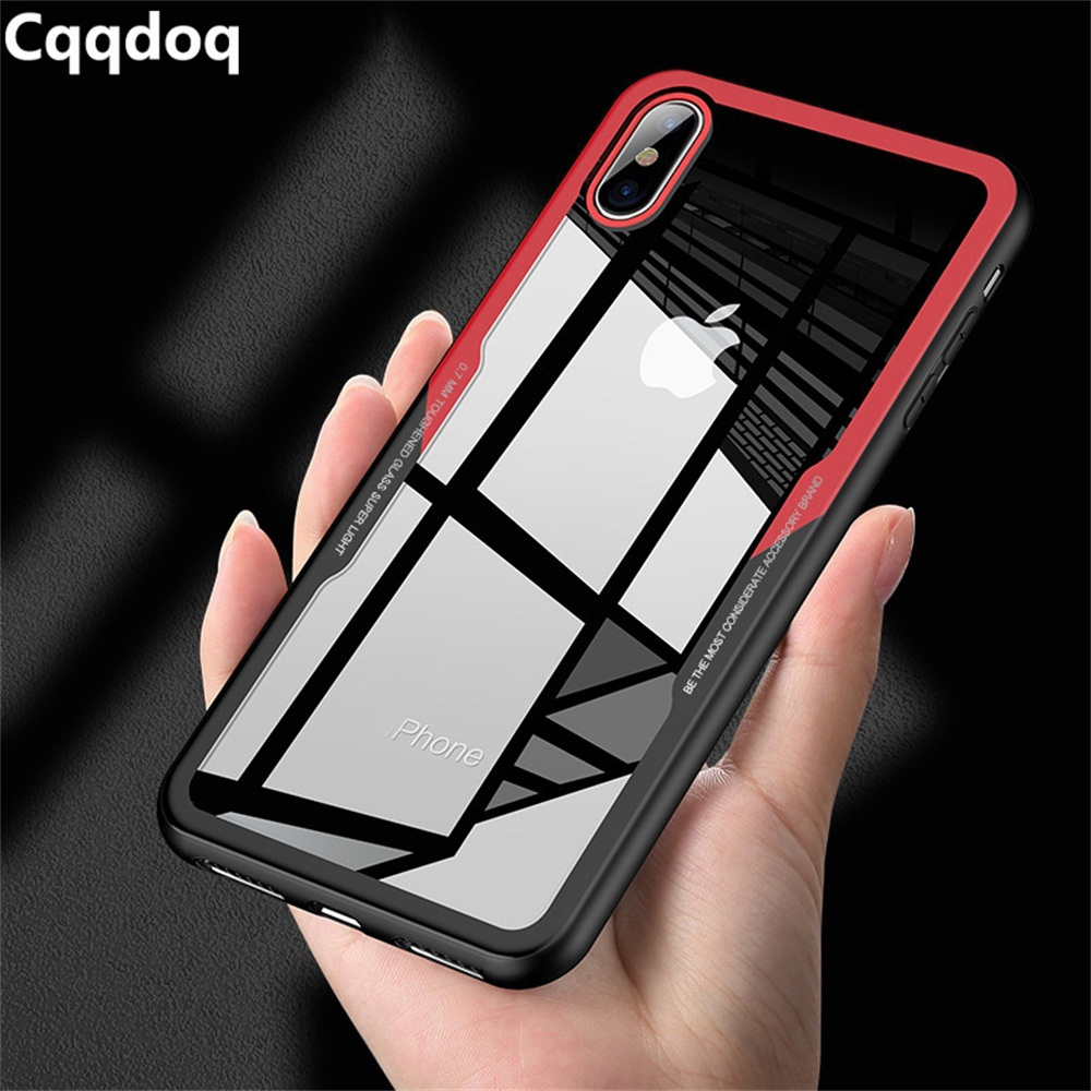 Cqqdoq Tranparent Armor Phone Case For iPhone 5 5s 6 6S 7 8 Plus Hard Acrylic Protection Cover X XR XS MAX Cases Capa