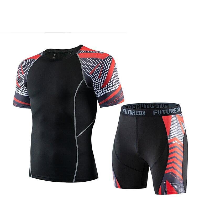 New Compressed Shirt Short Sleeve T-Shirt + Shorts Leotard Running Football Training Pants Men's Fitness Men's Sportswear Set