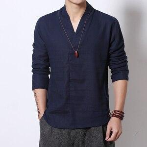Мужская футболка с длинным рукавом и v-образным вырезом, мягкая тонкая льняная футболка из чистого хлопка в китайском стиле, весна-лето 2019